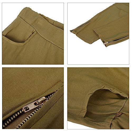 Casuales Sodial Talla Caqui Grande Largos Mujer Cremallera Vintage Pequena Alto Elastico Para Plisado S Flacos Lateral Extra Con Pantalones agafTz