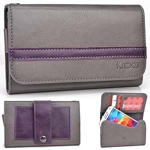 EXXIST® Graphite Series. Faux Leather Clutch / Wallet for THL W11 Monkey King II (Color: Grey / Purple Stripe) -ESMLGPE1