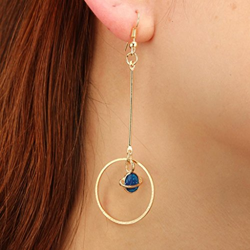 Stars Design Case Silver (Dangling Earrings for Women Girls, Iuhan Girls's Fashion Blue Star Moon Design Dangle Earrings Long Chain Ear Drop (C))