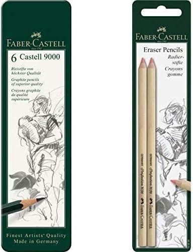 Faber Castell 119063 - Estuche de 6 lápices Castell 9000, graduación HB, B, 2B, 4B 6B y 8B, color negro + Faber-Castell 185698 - Blister lápices goma para borrar, con precisión: Amazon.es: Oficina y papelería