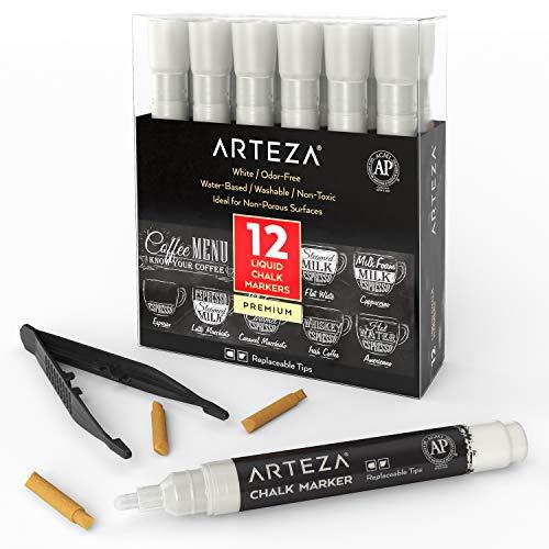 ARTEZA Liquid Chalk Markers Set of 12 (White Color, 12 Replaceable Chisel Tips, 1 pc Tweezers) - Washable - Water-Based - White Liquid Chalkboard Markers (Chalk White Liquid)