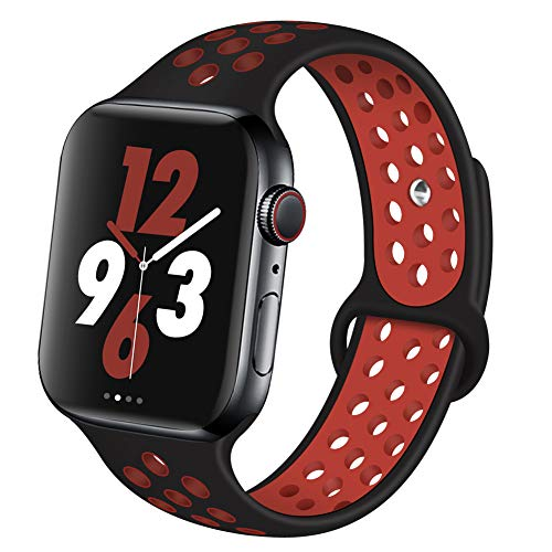 OriBear Compatible for Apple Watch Band 44mm 42mm, Breathable Sporty for iWatch Bands Series 5/4/3/2/1, Watch Nike+, Various Styles and Colors for Women and Men(M/L,Black-Red)