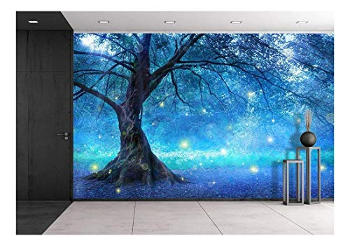 Full Wall Wallpaper Mural - wall26 - Fairy Tree in Mystic Forest - Removable Wall Mural | Self-Adhesive Large Wallpaper - 100x144 inches