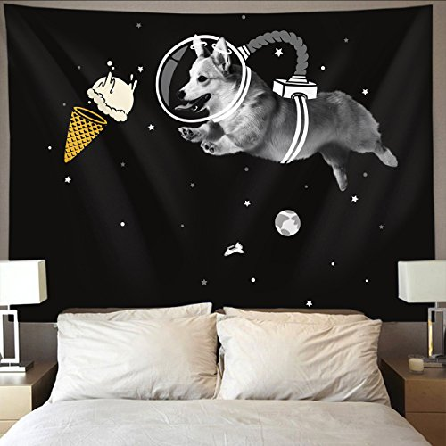 - HOMESTORES galaxy space ice cream astronaut dog black Wall Tapestry Hippie Art Tapestry Wall Hanging Home Decor Extra large tablecloths 60x90 inches For Bedroom Living Room Dorm Room
