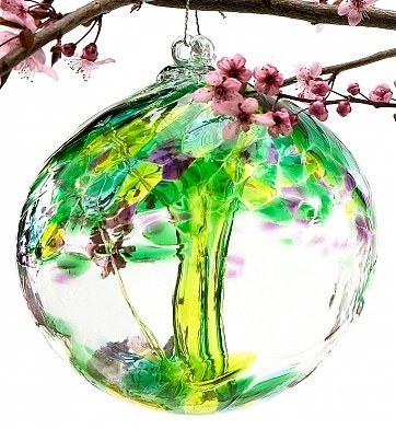 Tree Blown Glass Ornament (GiftTree Tree of Enchantment Hand-Blown Glass Orb - Unique Blown Glass Friendship Tree Ornament)