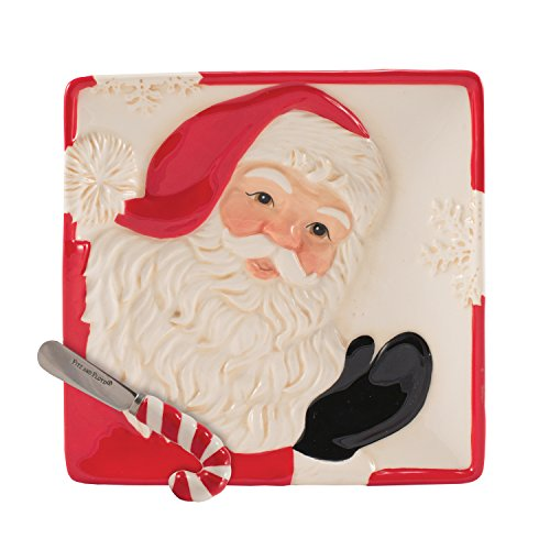 Letters to Santa Collection, Snack Plate with Spreader, Red/White