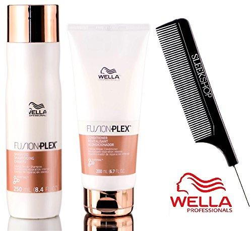 (Wella FUSION PLEX Intense Repair Shampoo & Conditioner DUO SET (with Sleek Steel Pin Tail Comb) (8.4 oz + 6.7 oz - DUO Kit))