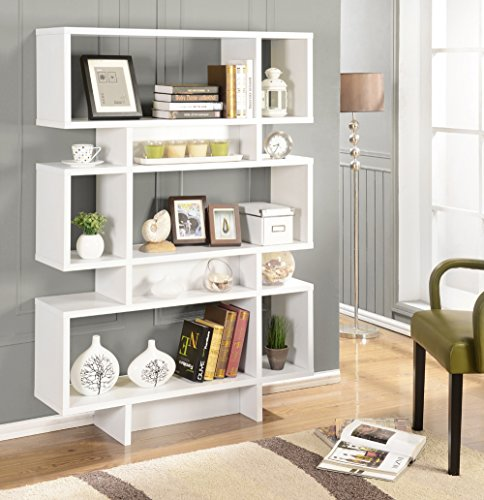 Kings Brand White Finish Wood Cube Bookcase Display Cabinet