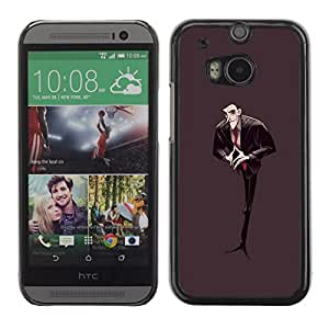 Colorful Printed Hard Protective Back Case Cover Shell Skin for HTC One M8 ( Man Black Figure Tie Bald Vampire Cartoon )