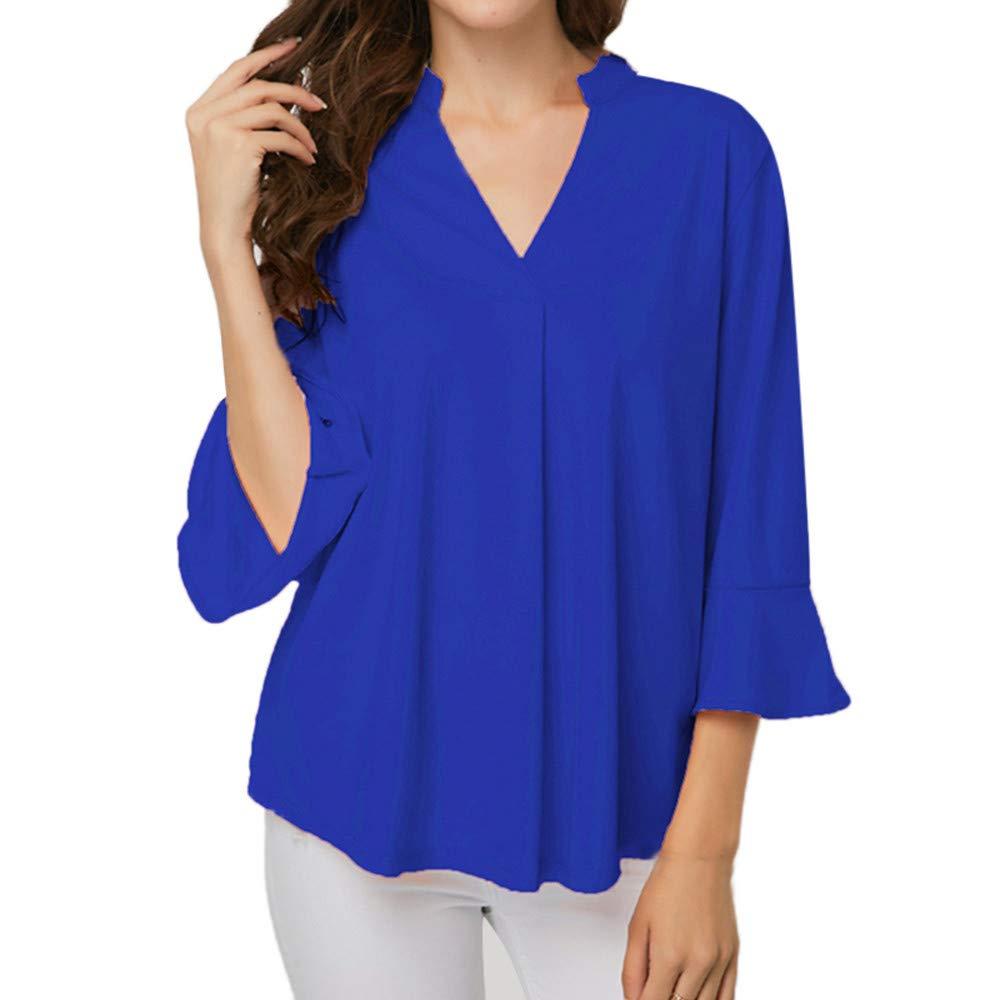 ❤ Blusa con Cuello en V Mujer, Moda Causal Suave Blusa de la Hoja de Loto de Solid Plus Size Blusa Camisa de la túnica fácil de Arriba: Amazon.es: Ropa y ...