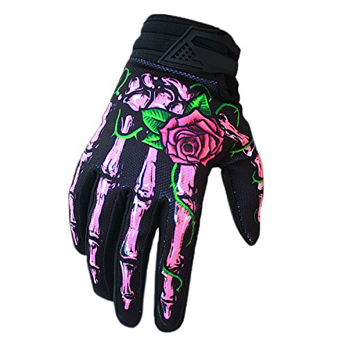 BPX Winter Gloves Cycling Motorcycle Full Finger Skeleton Ski Gloves Pink L -