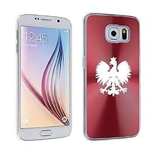 For Samsung Galaxy S6 Edge Aluminum Plated Hard Back Case Cover Poland Polish Eagle (Red)