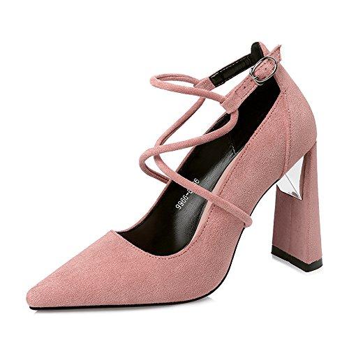 Xue Qiqi Mode Frau Schuhe tipp Licht die high-heel Schuhe der Nachtleben der Schuhe Cross strap mit fetter Schuh a26c90