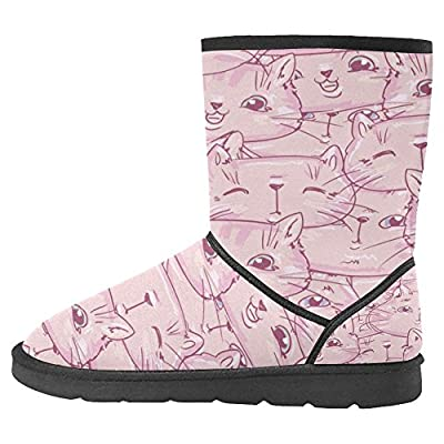 InterestPrint Women's Snow Boots Unique Designed Comfort Winter Boots Cute Kittens Pink