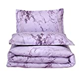Dark Purple Comforter Sets Queen A Nice Night Marble Design Quilt Comforter Set Bed-in-a-Bag,Queen (Purple-Marble)