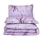 Dark Purple Comforter Queen A Nice Night Marble Design Quilt Comforter Set Bed-in-a-Bag,Queen (Purple-Marble)