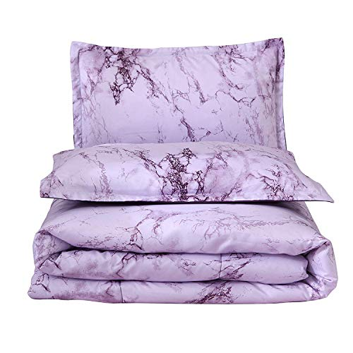 A Nice Night Marble Design Quilt Comforter Set Bed-in-a-Bag,Queen (Purple-Marble) (Set Queen Bed Purple)