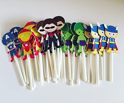 Superheroes Cupcake Toppers set of 12 pcs -