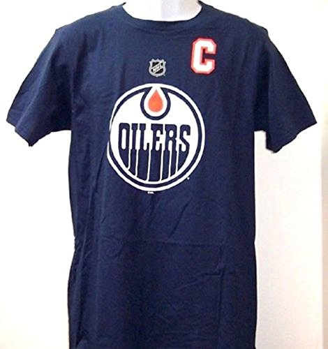 adidas Connor McDavid Edmonton Oilers Player Name & Number Blue Tee Adult Medium