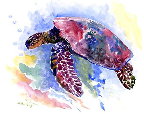 (Sea Turtle, original one of akind watercolor painting, sea turtles, sea turtle artwork, nautical beach design)