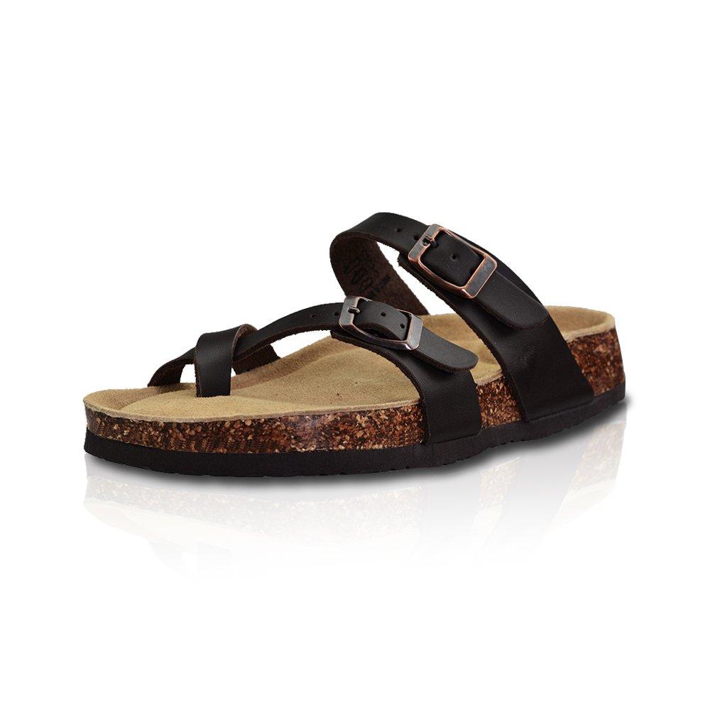 LA PLAGE Girl Women's Adjustable Toe Ring Flat Slide Cork Sandals for Summer 8 US Brown