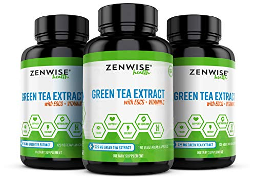 Green Tea Extract Supplement with EGCG & Vitamin C - Antioxidants & Polyphenols for Immune System - for Weight Support & Energy - Natural Pills for Brain & Heart Health - 120 Count