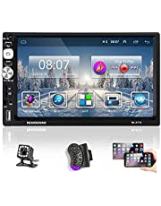 Podofo Double Din Car Stereo System Compatible with IOS and Android,7 Inches Touch Screen Car Audio with Bluetooth & Backup Camera, Built-in WiFi, Mirror Link, AM/FM Radio, Online/Offline GPS Navigation