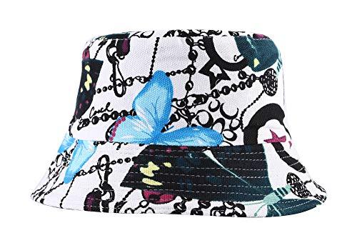 Hat Bucket Butterfly - ZLYC Unisex Cute Unique Print Travel Bucket Hat Summer Fisherman Cap (Butterfly,Blue)
