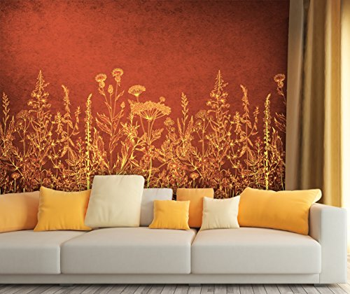 Large Wall Mural Golden Flowers on Rustic Red Background Vinyl Wallpaper Removable Wall Decor