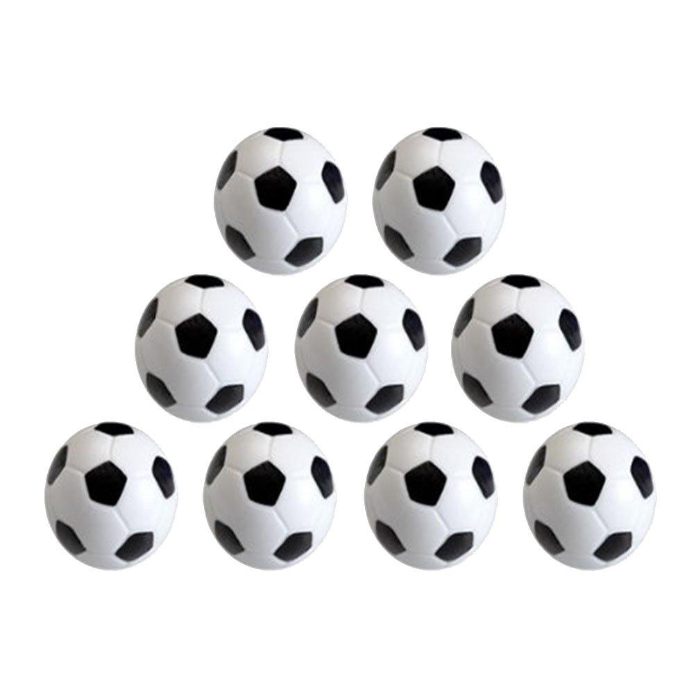 vientiane 9 pièces Mini 32 mm Ballons de Soccer, Football Baby-Foot pour Jeu Jouet Enfant (Noir Blanc)