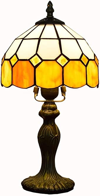 Classic Design 8 Inch Orange Check Table Lamp In Nordic Style Classic Creative Tiffany Stained Glass Bedroom Bedside Lamp Study Nursery Lamp Amazon De Beleuchtung