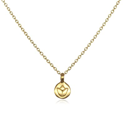f8cae5a5eed43 Satya Jewelry Classics Gold Lotus Necklace (18-Inch)