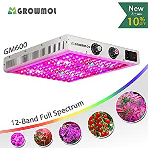 LED Grow Light 600W Dimmable 12 Bands Grow Lamp Full Spectrum for Indoor Plants Veg&Bloom Flower Dimmers UV&IR GrowMol GM600 High Yield LED Grow Light for Marijuana Cannabis Tomato Hydroponic