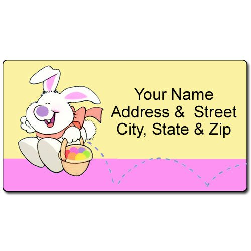 (Personalized Easter Address Label - Easter Bunny Customized Return Address Label - 90 Labels)