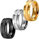3 PCS 8mm Black Silver Gold Brick Pattern Style Wedding Band Ring, Nickel Free, Cobalt Free!