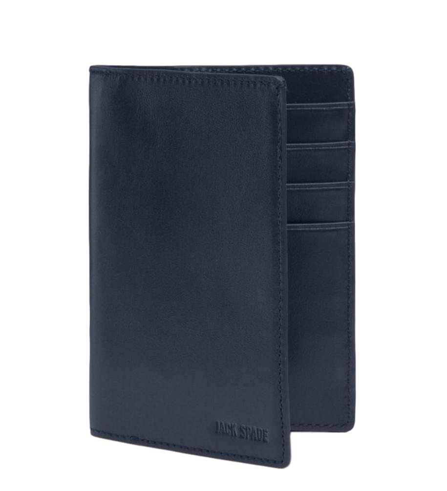 Jack Spade Walker Leather Passport Travel Wallet Navy $168