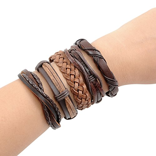 YUEAON handmade multi-style vintage leather cord bracelets cuff bangles rope wristbands Braided wrap tribal bracelet unisex for men women boys girls f…