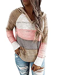 VECVOC Womens Sweaters Color Block Long Sleeve Drawstring Pullover Hoodies