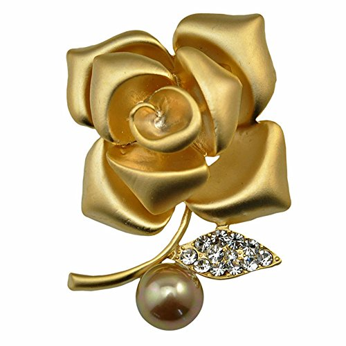 Rose Brooch Gold (Dwcly Gold Silver Tone Charm Rose Flower Brooch Pin Pretty Wedding Bridal Jewelry (Gold))