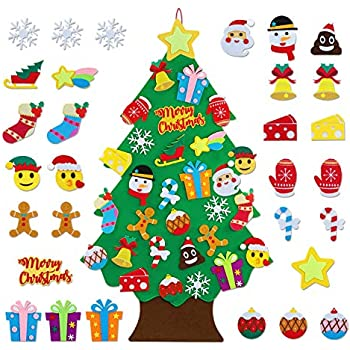 TOBEHIGHER Felt Christmas Tree Set - 3.1 Ft DIY Felt Christmas Tree for Kids, 30Pcs Detachable Ornaments, Door Wall Hanging Xmas Gifts for Christmas Decorations