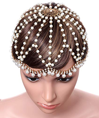 BABEYOND Vintage 1920s Crystal Flapper Cap Headpiece Roaring 20s Gatsby Pearl Rhinestone Flapper Cap Headpiece 1920s Gatsby Accessories (Gold) -