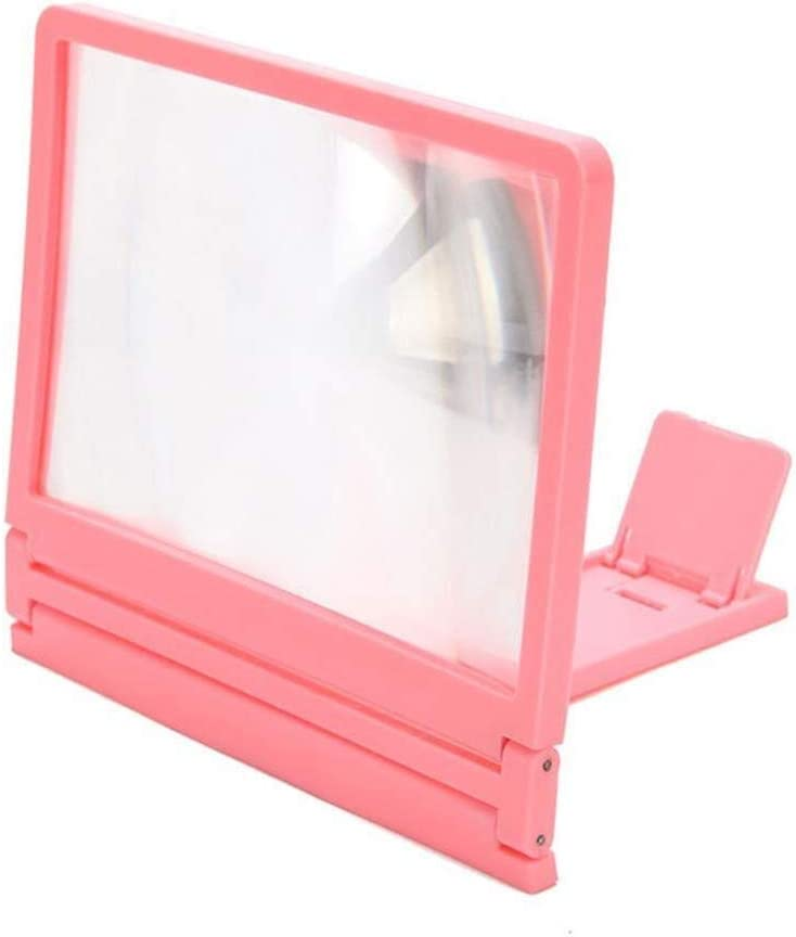 Handheld Magnifier 3D Mobile Phone Screen Magnifying Glass 7.8 inch Foldable Mobile Phone Holder Hd Movie Video Bracket for All Smartphones,Pink,Pink Multipurpose Personal Magnifier Color : Pink