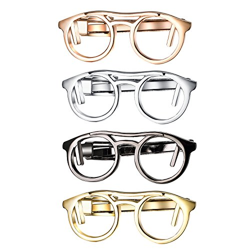 Yoursfs Tie Clip Glasses Designer Necktie Clip Set Novelty Tie Bar Clip Set for Men's Dress Shirts, Suits & ()