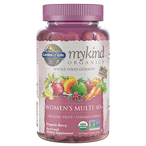 (Garden of Life - mykind Organics Women 40+ Gummy Vitamins - Berry - Certified Organic, Non-GMO, Vegan, Kosher Complete Multi - Methyl B12, C & D3 - Gluten, Soy & Dairy Free - 120 Real Fruit Gummies)