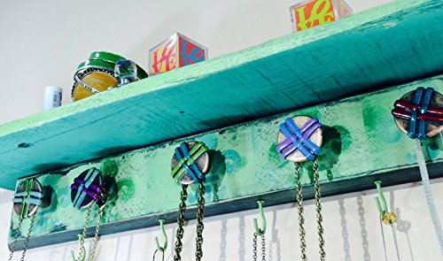 Pallet wood Wall shelf / bracelet holder recycled pallet wood shelf distressed teal, hunter green fleur de lis 7 hooks 6 hand-painted knobs (Pallet Recycled Shelves)