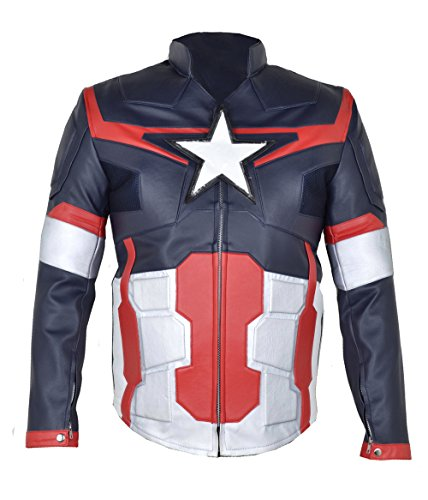 Captain America Avengers Cow hide Leather Jacket with Armour (5XL) CA2 (Captain America Costume Walmart)