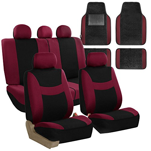FH GROUP FH-FB030115 Light & Breezy Cloth Seat Cover Set Airbag & Split Ready with Premium Carpet Floor Mats Burgundy / Black - Fit Most Car, Truck, Suv, or Van ()