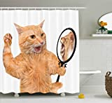 Ambesonne Kitten Shower Curtain, A Cat Looking into The Mirror and Seeing a Reflection of a Lion Digital Image, Fabric Bathroom Decor Set with Hooks, 70 inches, White and Apricot
