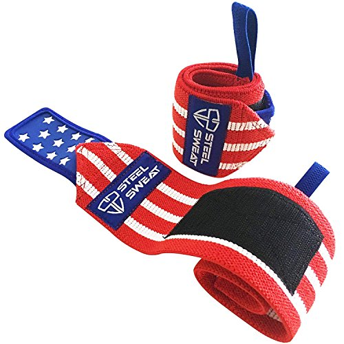 """Steel Sweat Wrist Wraps - Best for Weight Lifting, Powerlifting, Gym and Crossfit Training - Heavy Duty Support - Stars & Stripes 18"""""""