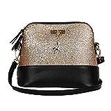 Clearance Sale! ZOMUSAR Women Fashion PU Leather Zipper Splice Handbag Shoulder Shell Bag Shiny Crossbody Tote Bag (Gold)